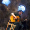 Sacred Blues.<br /> Nisse Thorbjørn: guitar in teh crypt of Grundtvigs Kirke, Copenhagen.<br /> Photo painted with digital impressionist chalk brush in Corel Painter + texture layers.