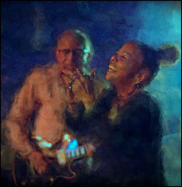 Join In.<br /> Lillian Boutté, vocal and Kenn Lending, guitar at Mojo Blues Bar, Copenhagen.<br /> Photo painted with digital chalk brush in Corel Painter + texture layers.