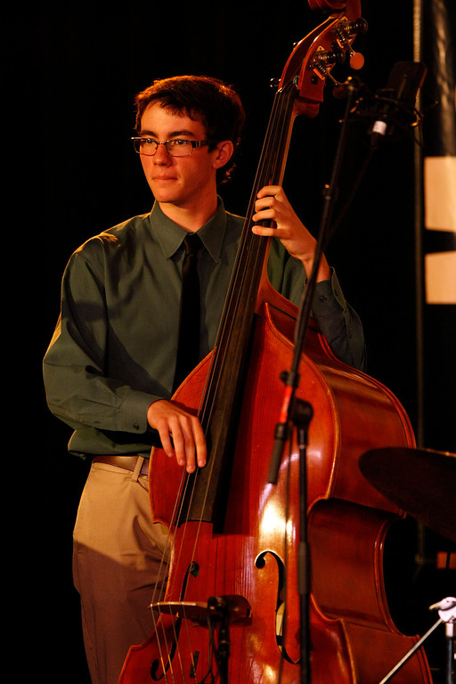 . Max Schwartz of the Berkeley High School Combo A performs at the Monterey Jazz Festival on Sept. 22, 2013.  (Vern Fisher/Monterey County Herald)