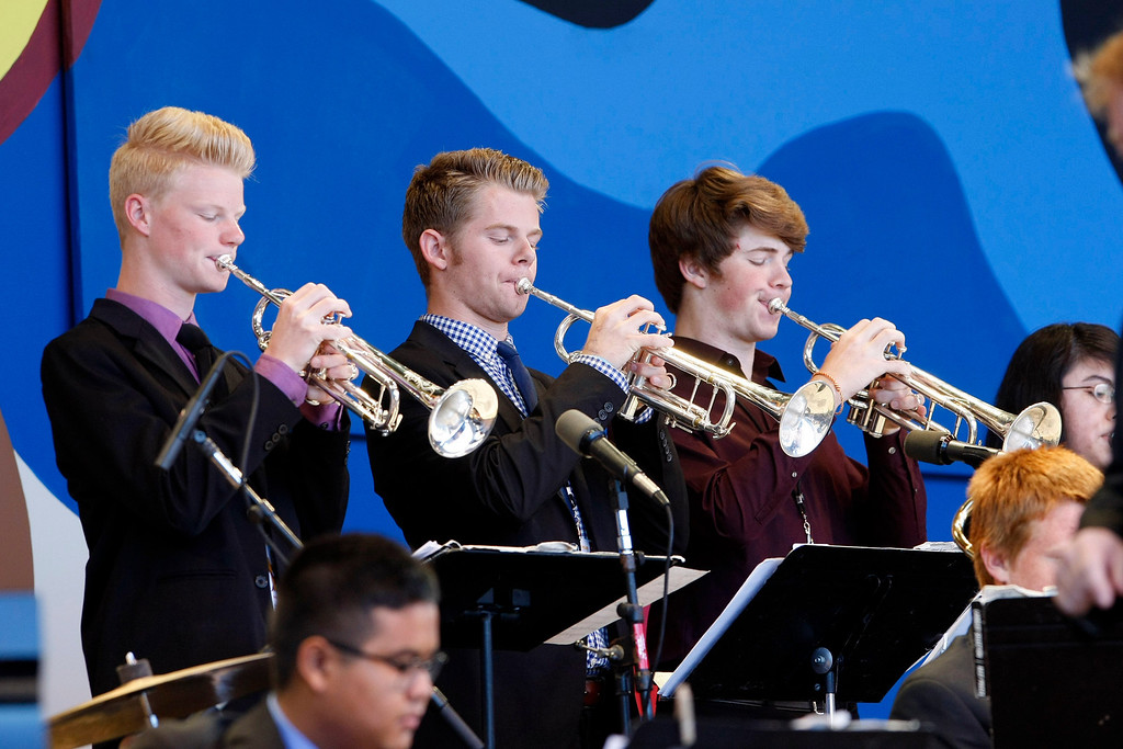 . Members of the Folsom High Jazz Band performs at the Monterey Jazz Festival on Sept. 22, 2013.  (Vern Fisher/Monterey County Herald)