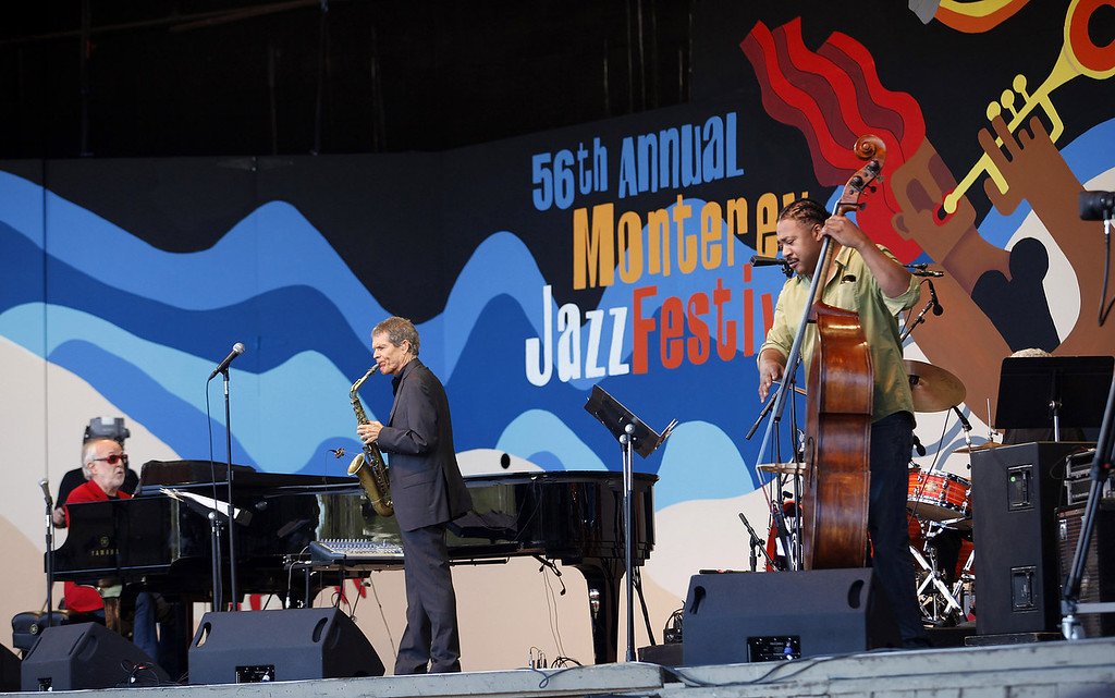 . Bob James, David Sanborn and James Genus on the Jimmy Lyons Stage at the Monterey Jazz Festival on Sept. 22, 2013.  (Vern Fisher/Monterey County Herald)