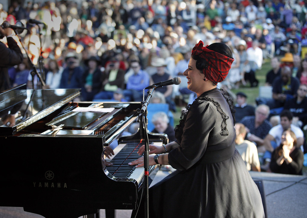 . Davina Sowers of Davina and The Vagabonds on the Garden Stage at the Monterey Jazz Festival on Sept. 22, 2013.  (Vern Fisher/Monterey County Herald)