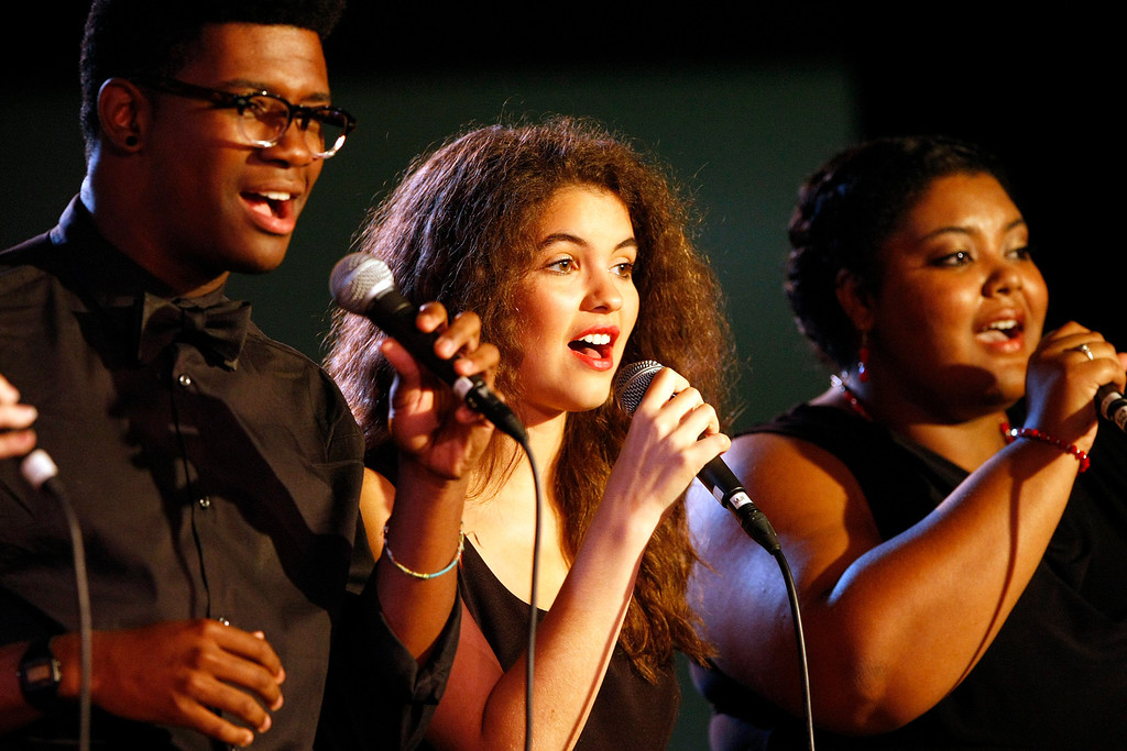 . The Booker T Washington High School for the performing Arts Lab Singers performs at the Monterey Jazz Festival on Sept. 22, 2013.  (Vern Fisher/Monterey County Herald)