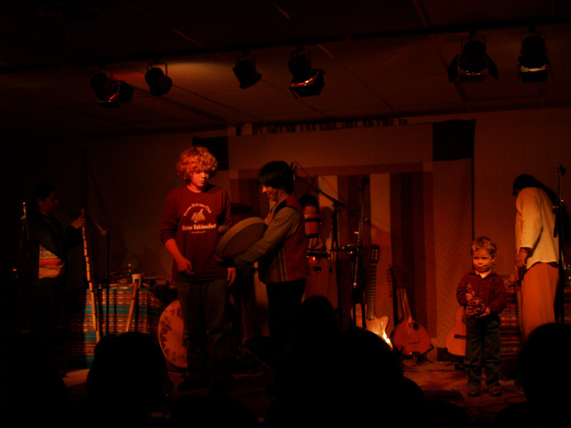Seth & Dominic onstage with Andesmanta; Perkasie Patchwork Coffeehouse