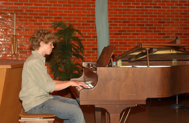 Seth playing piano at St. John's UCC, Kutztown PA (during a DayBreak concert)