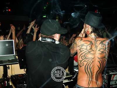 In the DJ booth with Tommy Lee and DJ Aero at The Loft nightclub in Melbourne, Australia on 7 Dec 2005.
