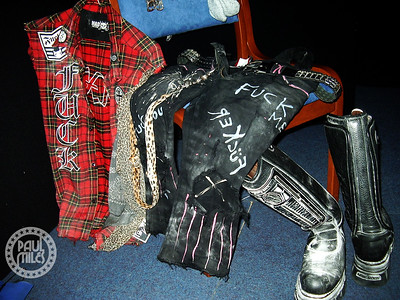 The stage clothes of Nikki Sixx in his dressing room at Claremont Showgrounds, Perth before Motley Crue's headlining set at the Blackjack Festival on 10 December 2005.