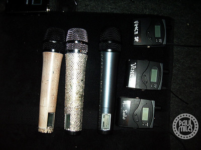 Vince Neil's microphones ready for show time at a Motley Crue show in Japan on their Saints of Los Angeles tour.