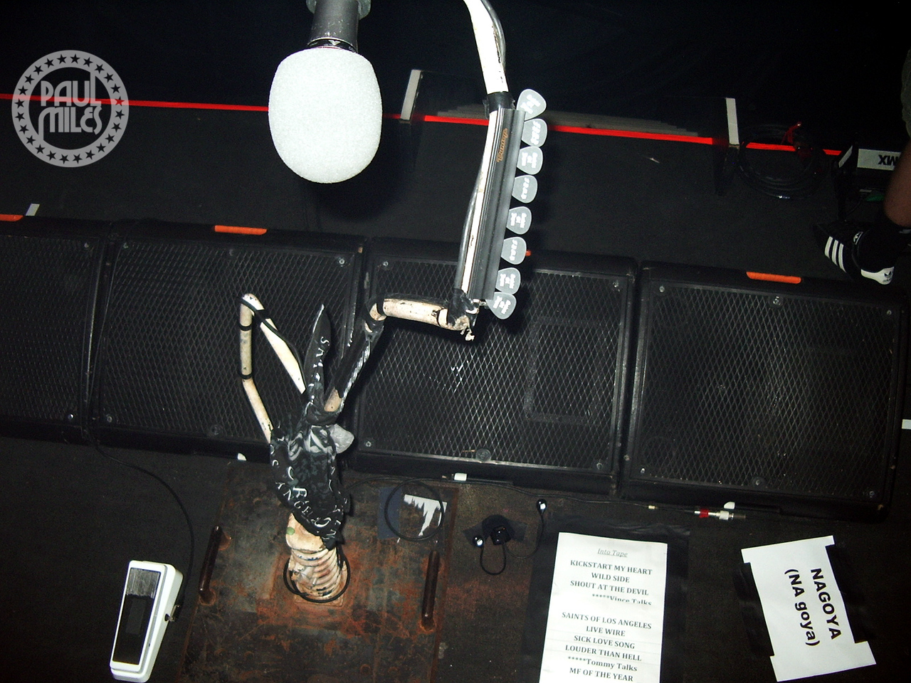 The on-stage set-up of Nikki Sixx before Motley Crue's show at Zepp, Nagoya, Japan in October 2008.