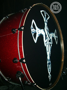 Tommy Lee's oversized kick drum on stage in Nagoya, Japan 2008.