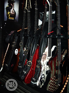 A look inside the road case containing the bass guitars of Nikki Sixx before Motley Crue's show at Zepp, Nagoya, Japan in 2008.