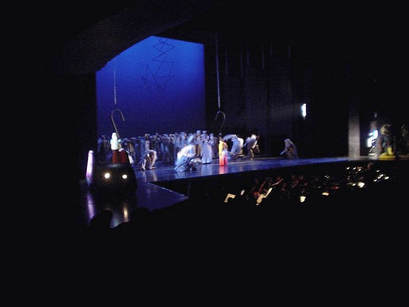 Pamina watches as her love Tamino and his partner Papageno get taken away to endure their tests that will determine if they are worthy.