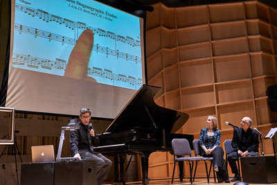 New York, New York - Dec. 16, 2015 : Orli Shaham, Bruce Adolphe and Noam Elkies explore the relationship between music and math on Beethoven's birthday at the Baruch Performing Arts Center, Engelman Recital Hall, as part of the Museum of Mathematics 'Harmonic Seies' - Seen here (l to r) -  Noam Elkies (composer), Orli Shaham (pianist), and Bruce Adolphe (host)  Credit: Robert Altman