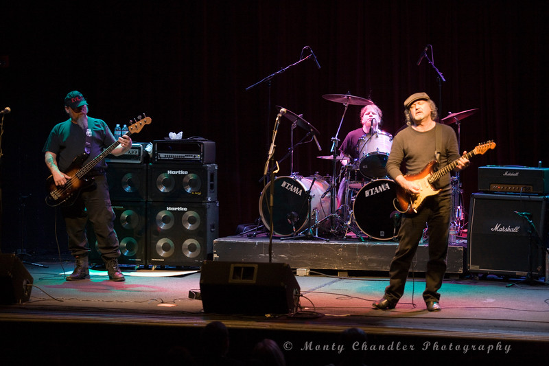 """Tinsley Ellis with his road warrior band members Evil One on Bass & Jeff """"Jabs"""" Burch on drums at the Neighborhood Theatre in Charlotte, NC Dec 5th 2009"""