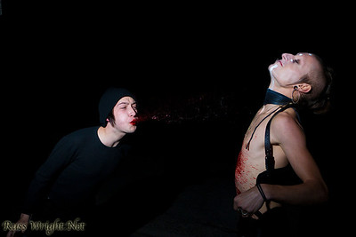 Jake Nazareth spitting blood at Jared Waren of Limnus before Bloodchains video shoot