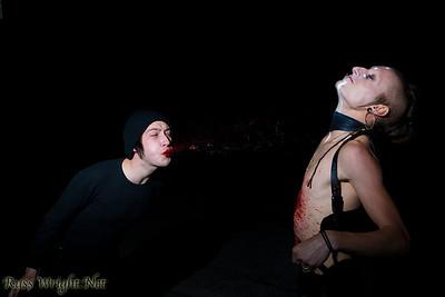 Jake Nazareth spitting blood at Jared Waren of Limnus before Bloodchains video shoot