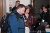 Artists (John Schmitt & Bess Rogers) arriving and registering at the Tosco Music Party Jan 28th, 2012 at the Halton Theatre on the CPCC central campus.