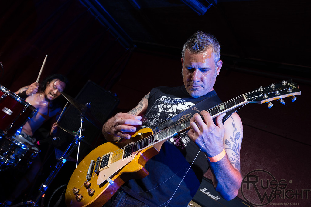 Chris Campbell (Guitar) with broken string and intense Andy V. Galeon (Drums). The Nerv @ Thee Parkside, San Francisco, CA. July 2013