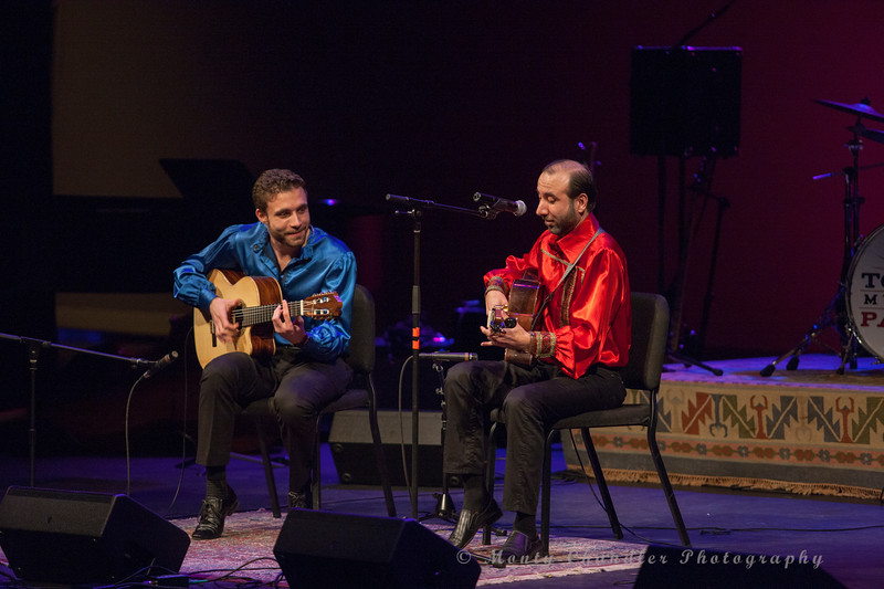 Russian Gypsy guitarists Vadim Kolpakov and Sasha Kolpakov performing at the Tosco Music Party at the Knight Theater Feb 3rd, 2018 in Charlotte, NC.