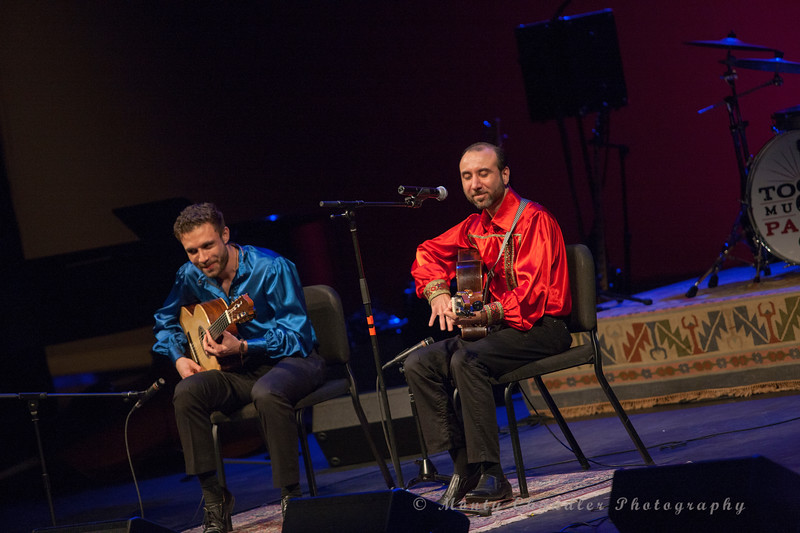 Russian Gypsy guitarists Vadim Kolpakov and Sasha Kolpakov performing at the Tosco Music Party at the Knight Theater Feb 3rd, 2018 in Charlotte, NC.