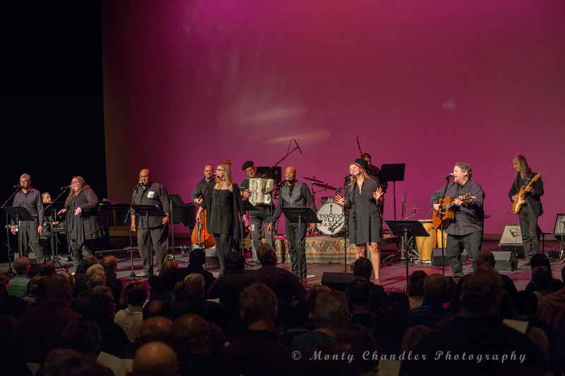 JOhn Tosco with the TMP singalong choir and house band performing at the Tosco Music Party at the Knight Theater Feb 3rd, 2018 in Charlotte, NC.