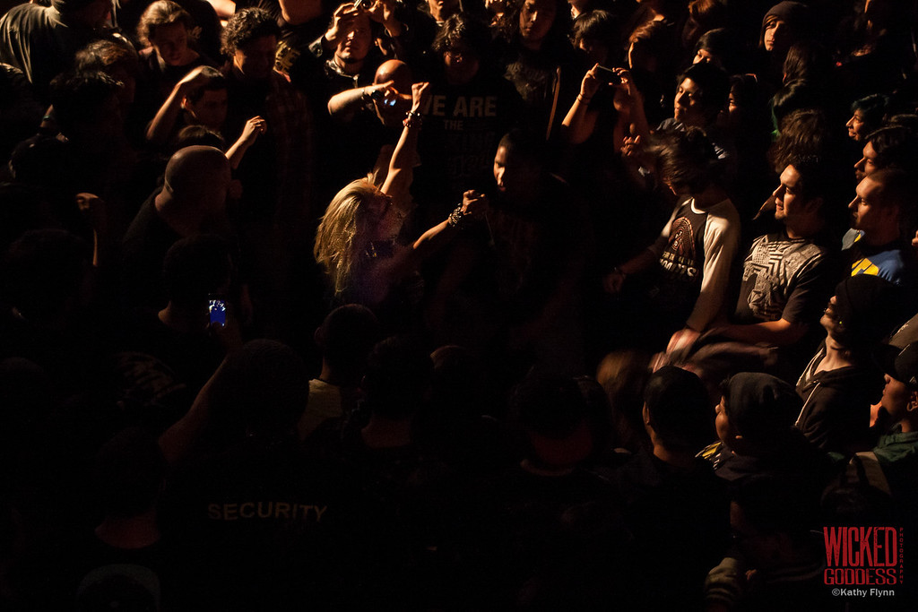 Butcher Babies ending the show in the crowd.