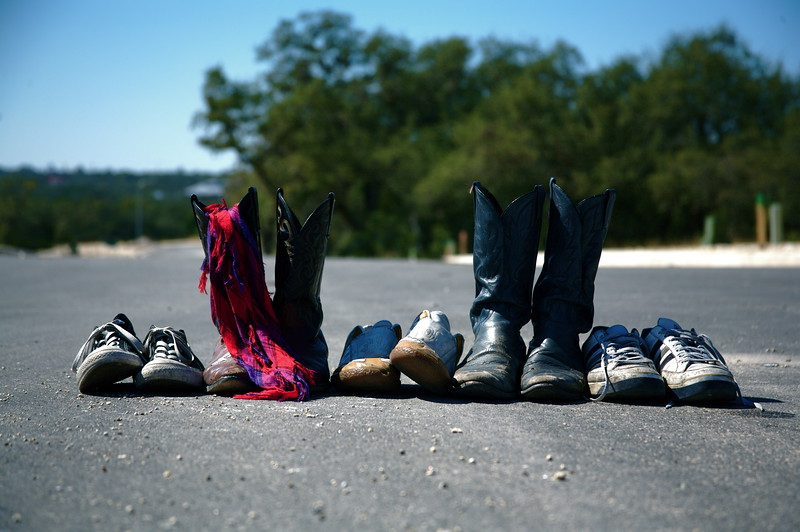 the shoes/boots of The Alternate Routes in San Antonio, Texas