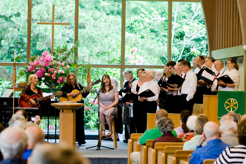 """""""Come to Jesus"""" performance - June 1, 2008<br> Bronwyn Edwards Cryer (Guitar & Vocals), Betsy Boyer (Guitar & Vocals), Sarah Ackers (Lead Vocals), Fauntleroy Chancel Choir (Backup Vocals)"""