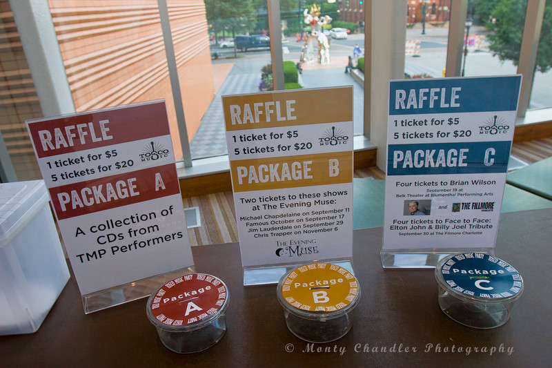 Raffle opportunities at the Tosco Music Party held at the Knight Theatre in Charlotte, NC September 10, 2016.