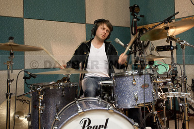 Drummer Rory Doyle of The Walls recording at the RTE Studios (March 2011)
