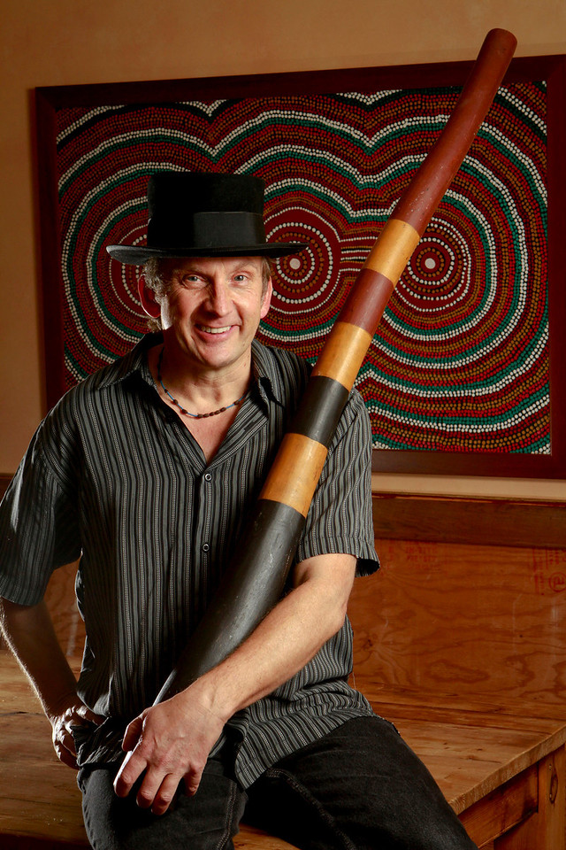 Stephen Kent with his Didgeridoo at his home in Oakland , Calif., on Tuesday, December 20, 2011.