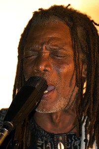 Pen Cayetano (painter and founder of punta rock) at live performance in Dangriga, Stann Creek, Belize.