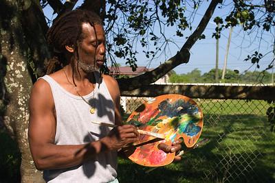 Pen Cayetano, painter and founder of punta rock, Dangriga, Stann Creek, Belize.
