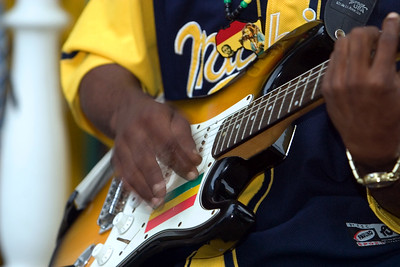 Guitarist performing with Pen Cayetano in Dangriga, Stann Creek, Belize.