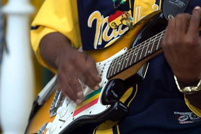 Guitarist performing with Pen Cayetano in Dangriga, Stann Creek, Belize.