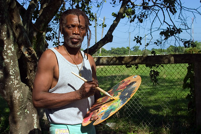Pen Cayetano, painter and founder of punta rock, Dangriga, Stann Creek, Belize.