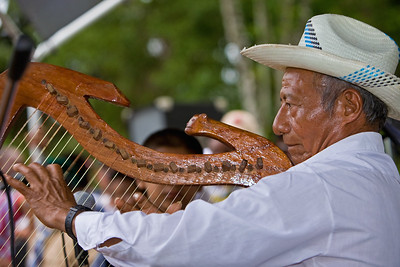 Florencio Mess, King of maya harp and strinks, playing the harp at the 3 Kings Concert on last day of Cacao Festival 2010 in the plaza at Lubaantun, Toledo