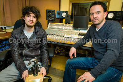 Mark Hutchinson with Folk musician Blair Dunlop at Rooksmere Studios, Northamptonshire, UK Producer and engineer Mark Hutchinson at Rooksmere Recording Studios, UK