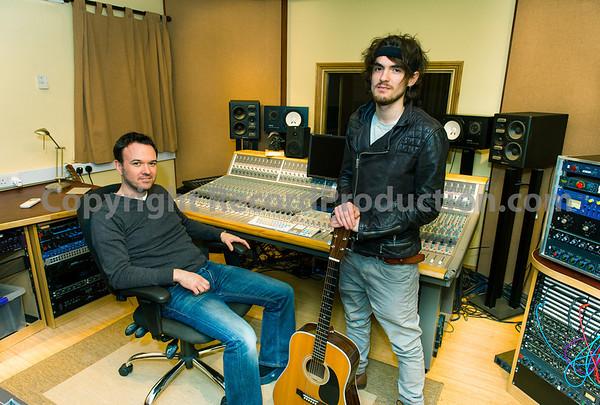 Mark Hutchinson with Folk musician Blair Dunlop at Rooksmere Studios, Northamptonshire, UK Producer and engineer Mark Hutchinson at Rooksmere Recording Studios, UK