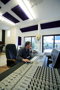 Mike Oldfield in the recording studio behind euphonix mixing console