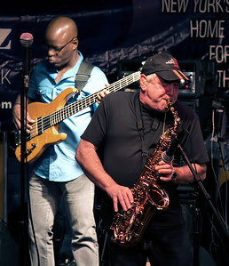 Spyro Gyra - Jazz Cruise around NYC - August 14, 2013. Jay Beckenstein and Scott Ambush -  Shot with no flash at high ISO - processed using denoise software.