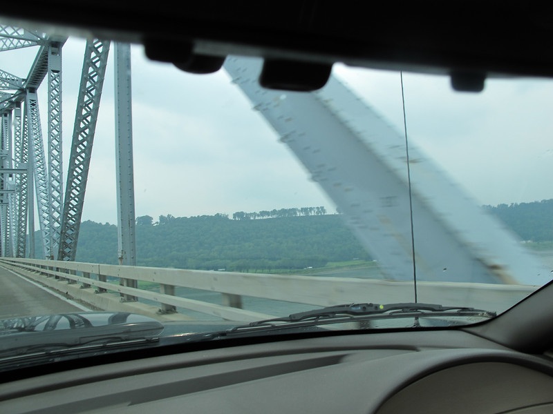 Going over the tiniest two lane bridge possible over the Ohio