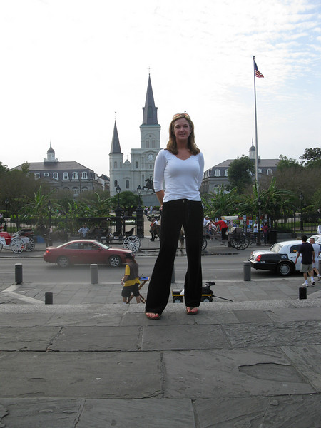 Shay on the Moonwalk overlooking Jackson Square (and St. Louis Cathedral)