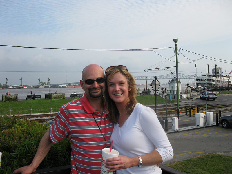 Shay and I on the Moonwalk overlooking the Mississippi River, the famous bridges, and the Delta Queen.