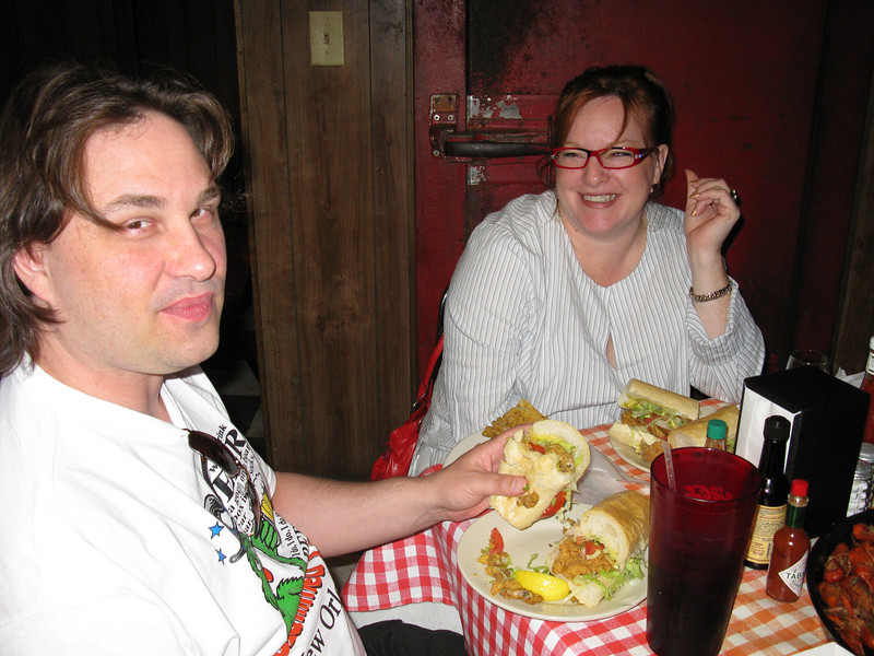 Max chowing down a oyster poboy, U gave bi udea what Gabrielle got... but it's fried seafood on French bread. What could go wrong with that?