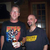 Ricky and Dow minutes before show time. Notice the homage to our favorite bands and the medical treatment applied because of being out of practice.
