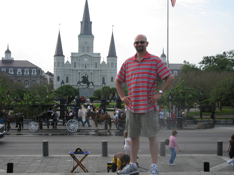 On the Moonwalk overlooking Jackson Square (and St. Louis Cathedral)