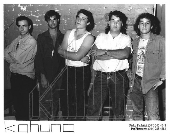 "Promo Pic - Sometime in 1989 <br /> Jimmy's Music Club, New Orleans, LA<br /> Our ""bad boy"" promo pic. We were a bunch of grizzly vets at the age of 16 and 17, eh? Yet we played the second-hottest (back then) music club in New Orleans, Jimmy's, at this ripe age on a monthly basis. Sure, we're underaged in a bar - but not by much, as Louisiana and Hawaii were the last two states still clinging to the 18 year-old drinking age. (You can still drive solo and be fully licensed at age 15 there.)"
