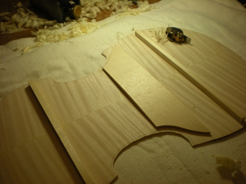 The back with more shaping of the glued struts.