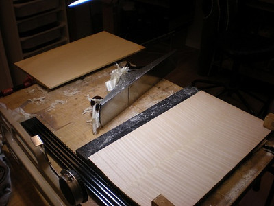 Early December 2012. Both the back and top plates have now been joined. Both back/inside surfaces have to be perfectly flattened before they are cut out.